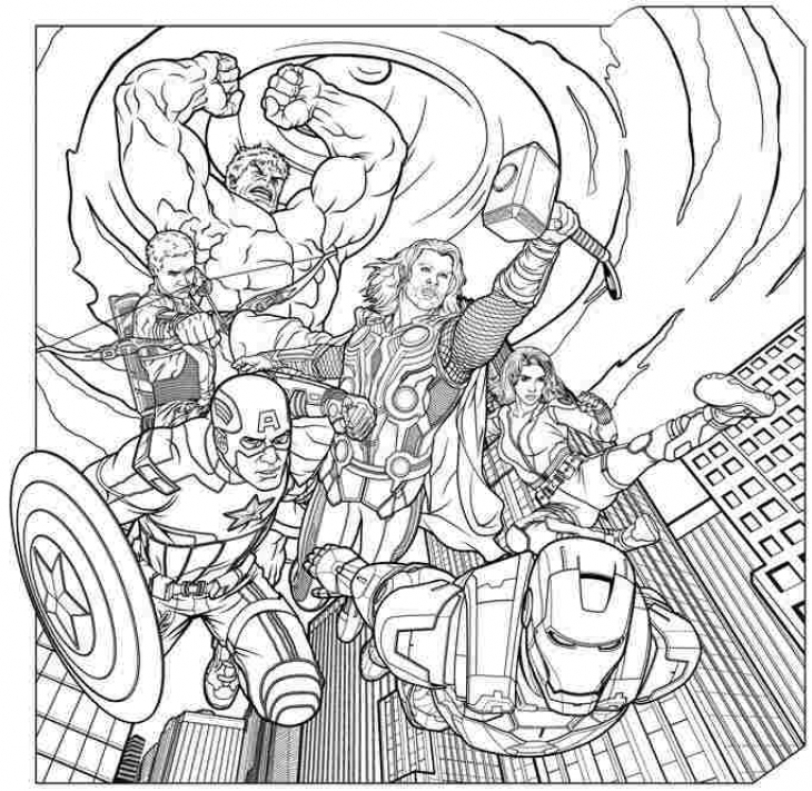 Avengers in action coloring page