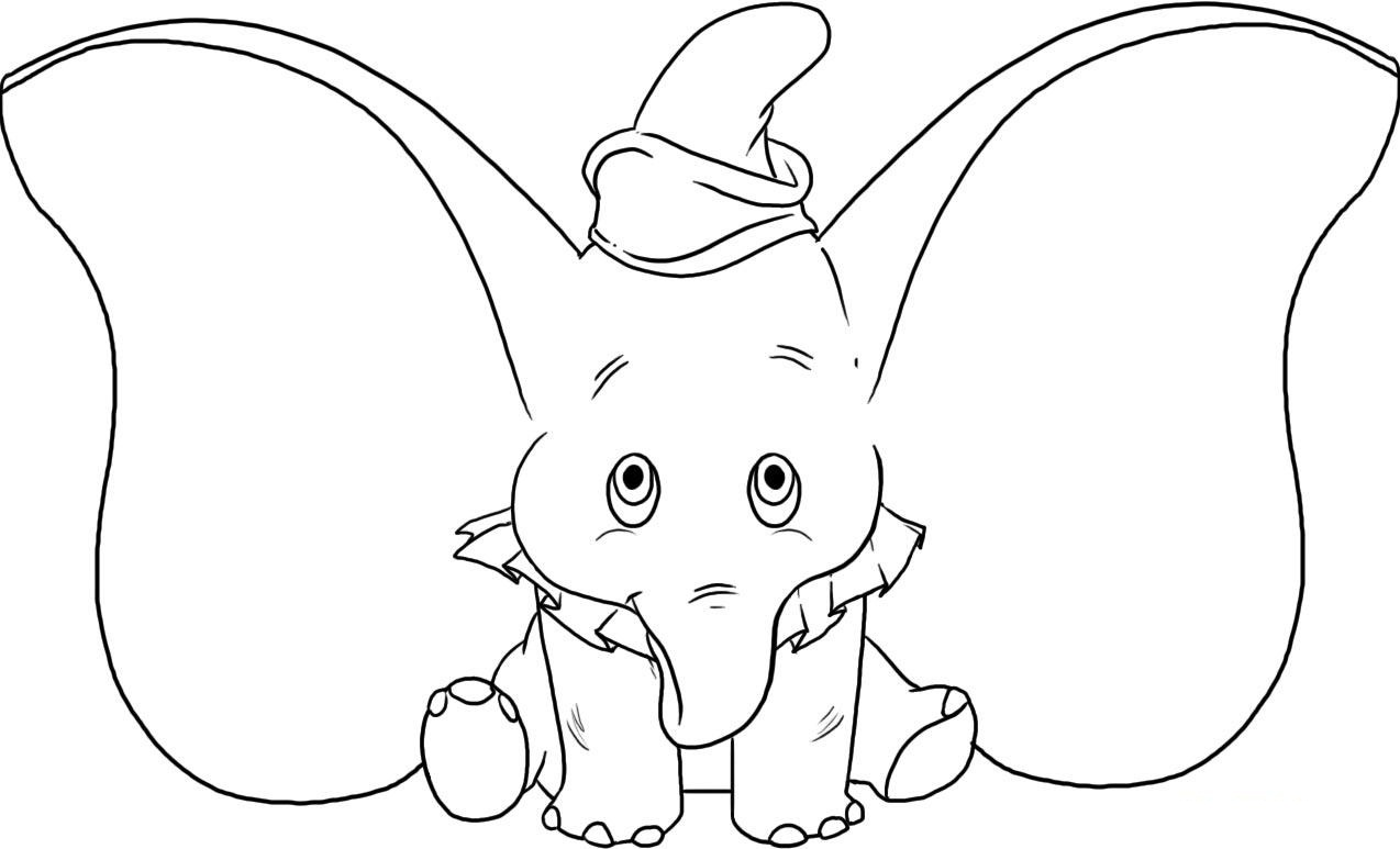 Baby elephant with huge ears coloring page