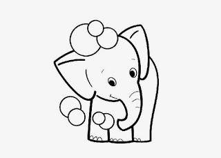 tiny elephant coloring page