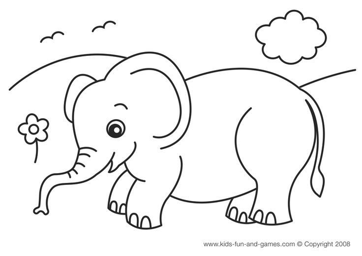 Tiny Elephant Coloring Page Baby Image