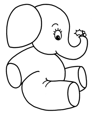 Cute baby elephant coloring page - Coloring.id | 400x327
