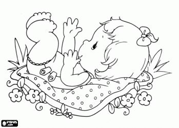Baby playing coloring page