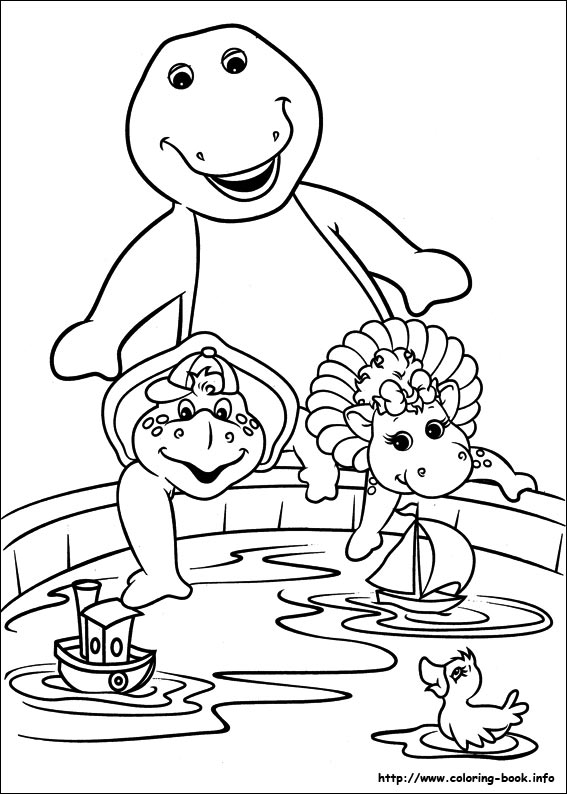Barney Coloring Page With Baby Bob BJ