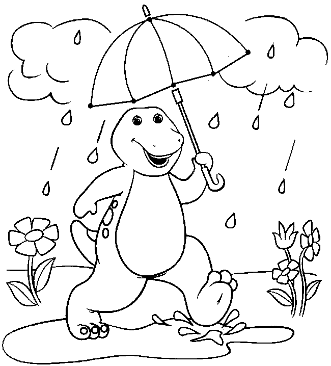 cute dinosaur coloring pages printable cooloring com cute barney in the rain - Barney Dinosaur Coloring Pages
