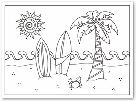 Beach view coloring page