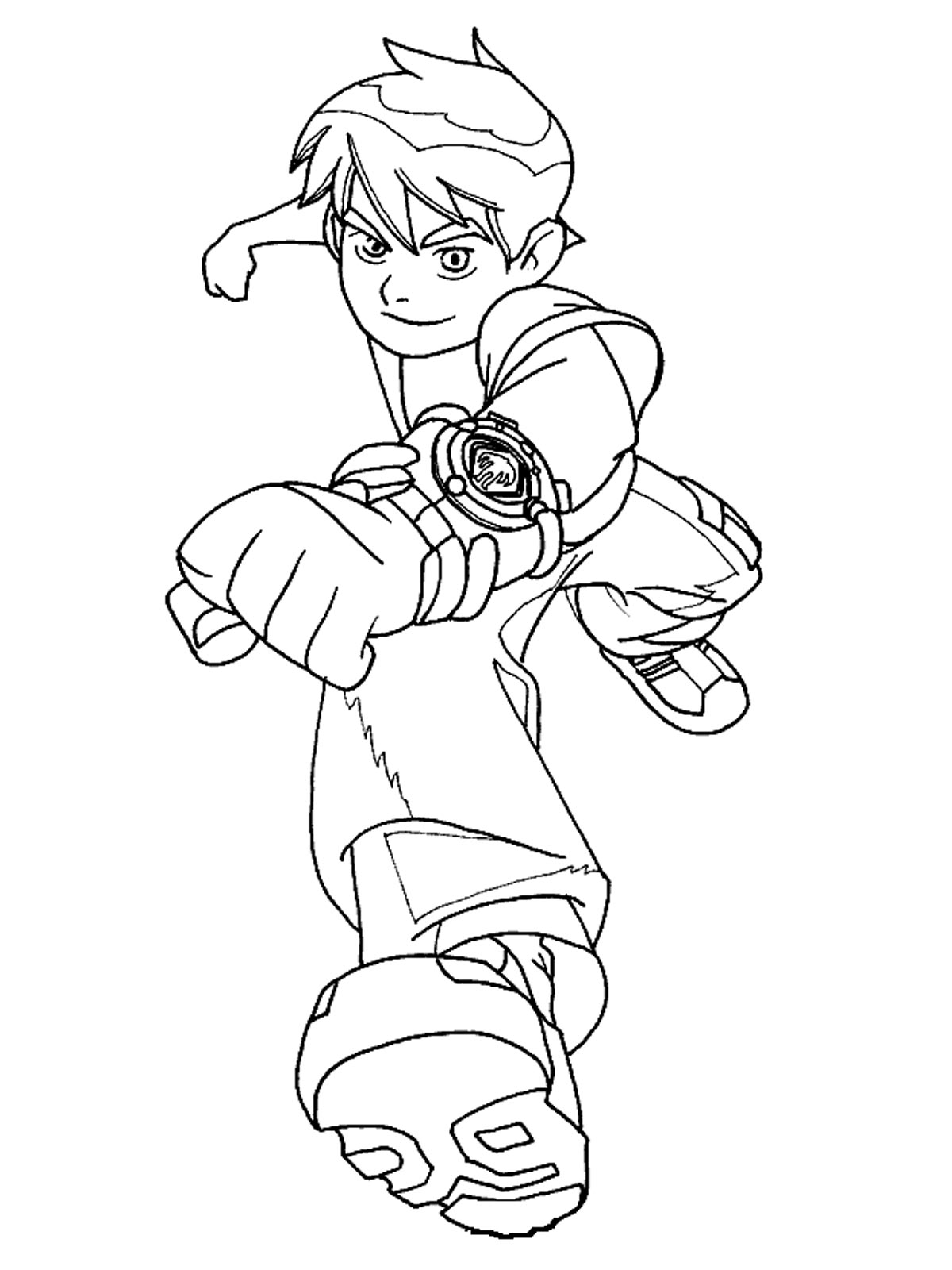 Ben 10 in action coloring page