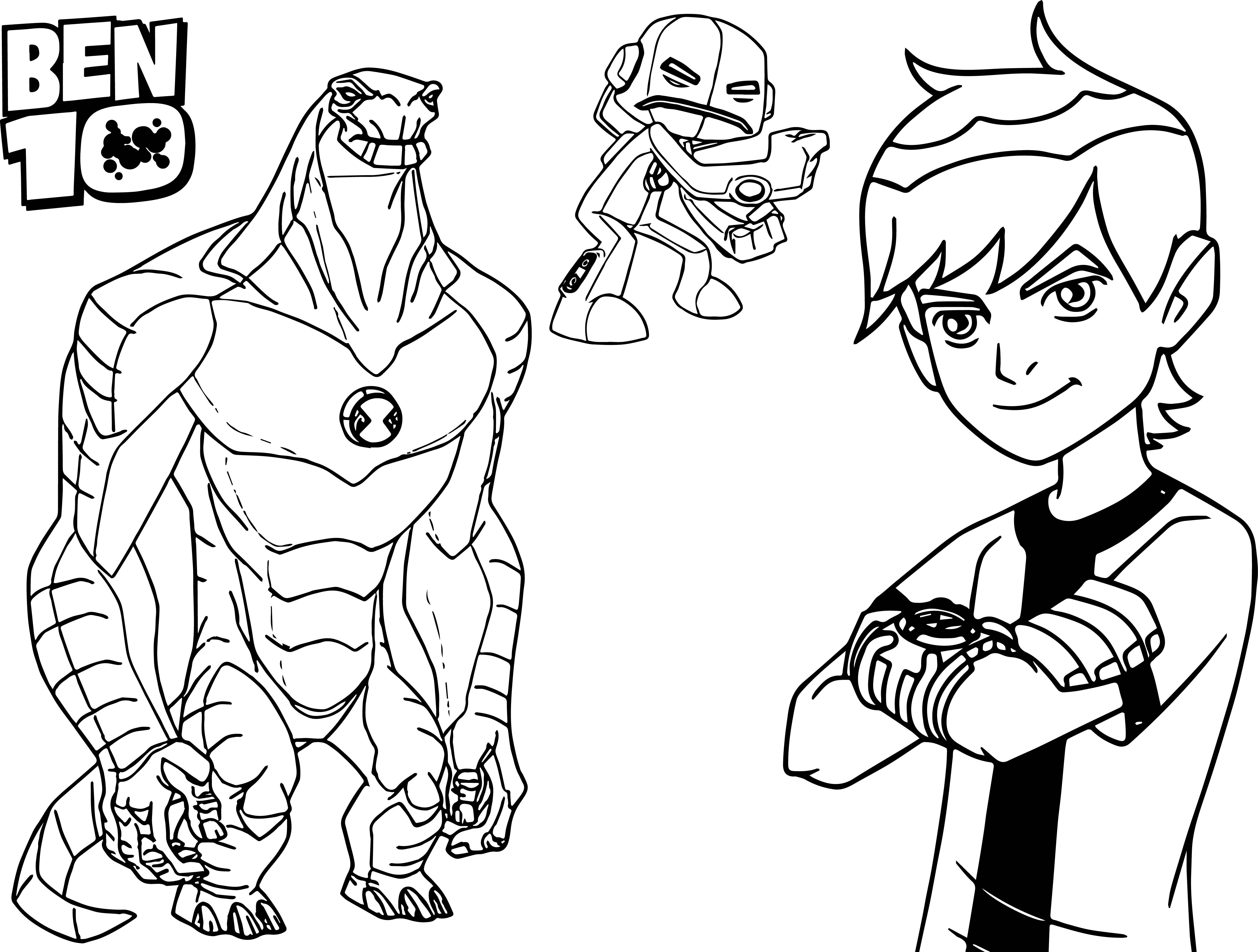 Ben 10 the team coloring page