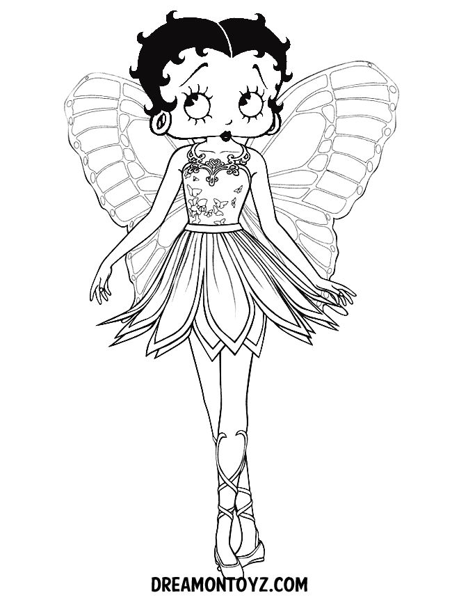 Betty Boop as fairy coloring page