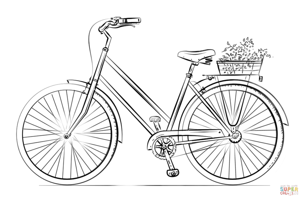 image of Bicycle coloring page