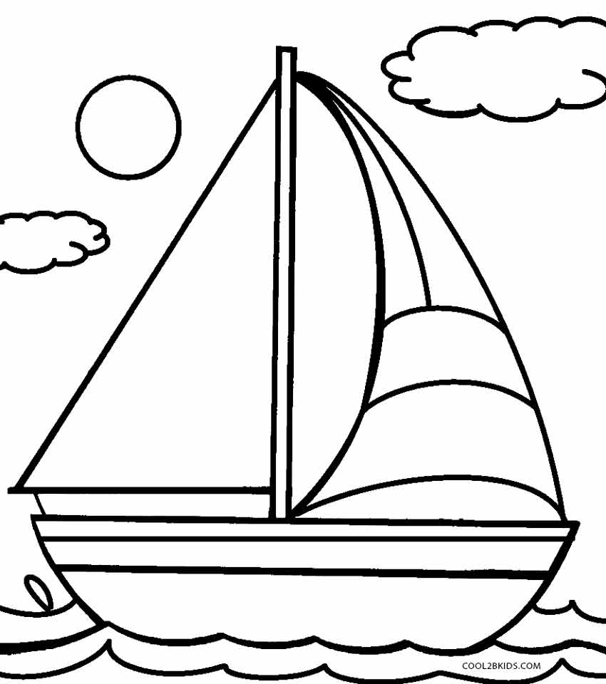 hoist a sail Boat coloring page