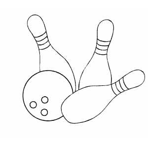 Bowling bowl and pins