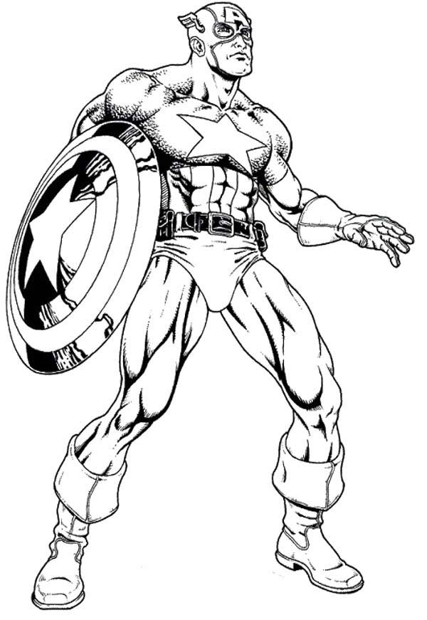 Captain America in action coloring page