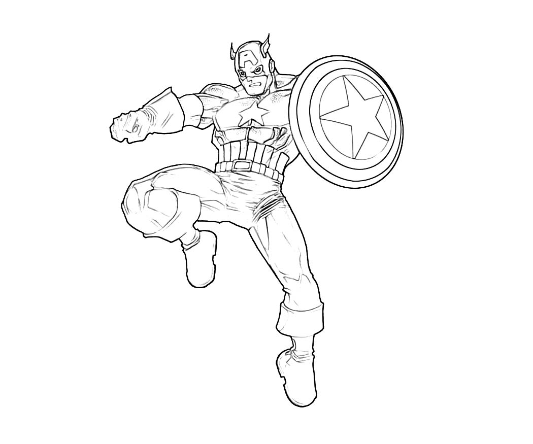 Captain America in action