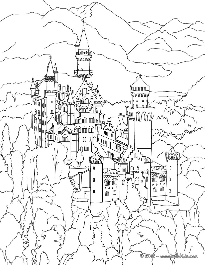 Castle in the mountain coloring page