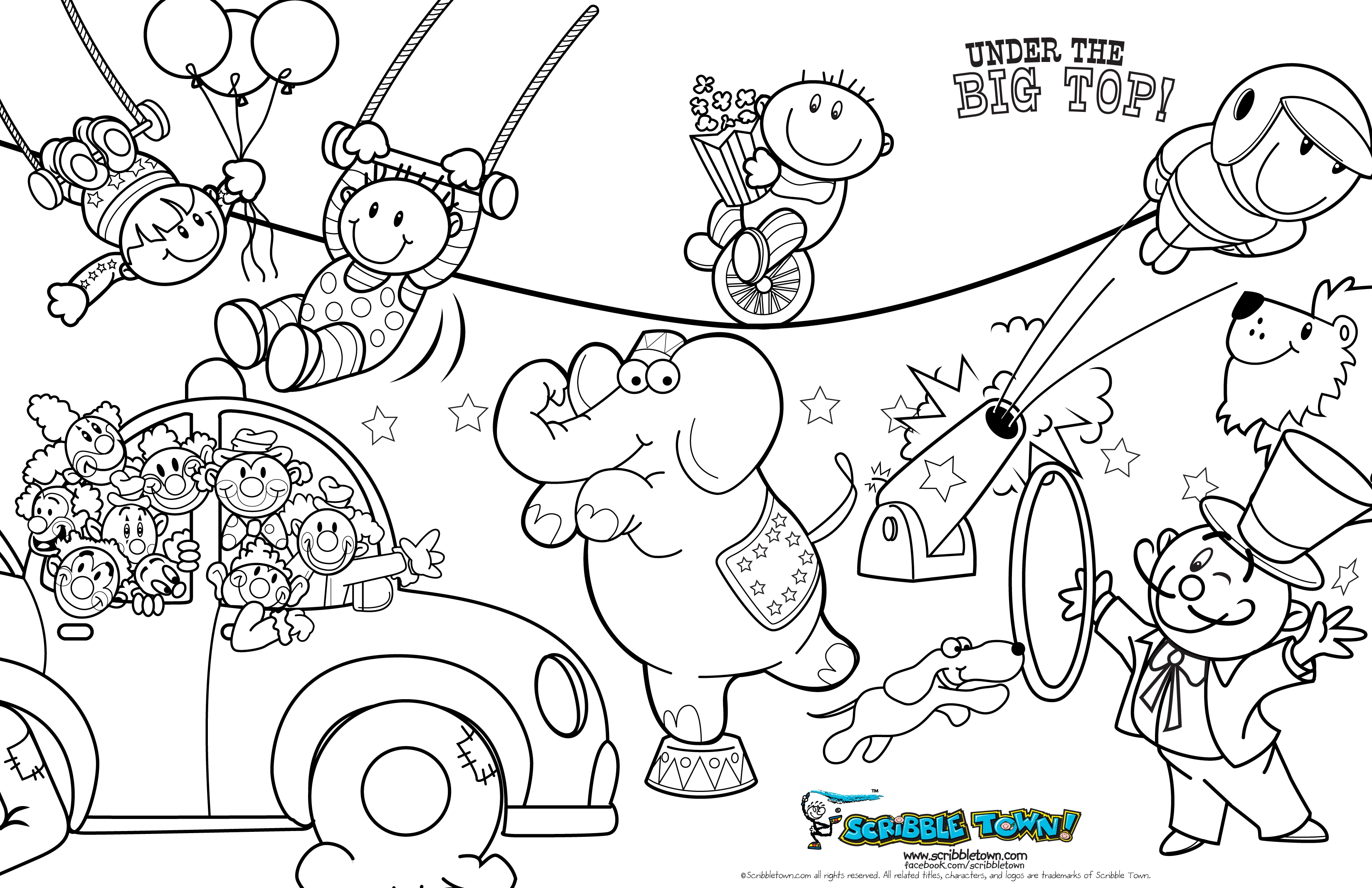 Circus Tent Coloring Page With Pages Printable Carnival 1 ... | 2135x3300