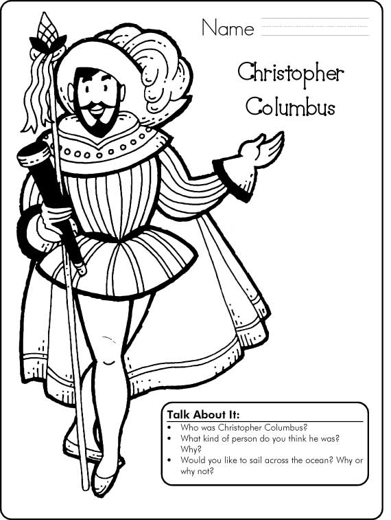 Columbus day sketch printable free printables for Christopher columbus coloring pages printable