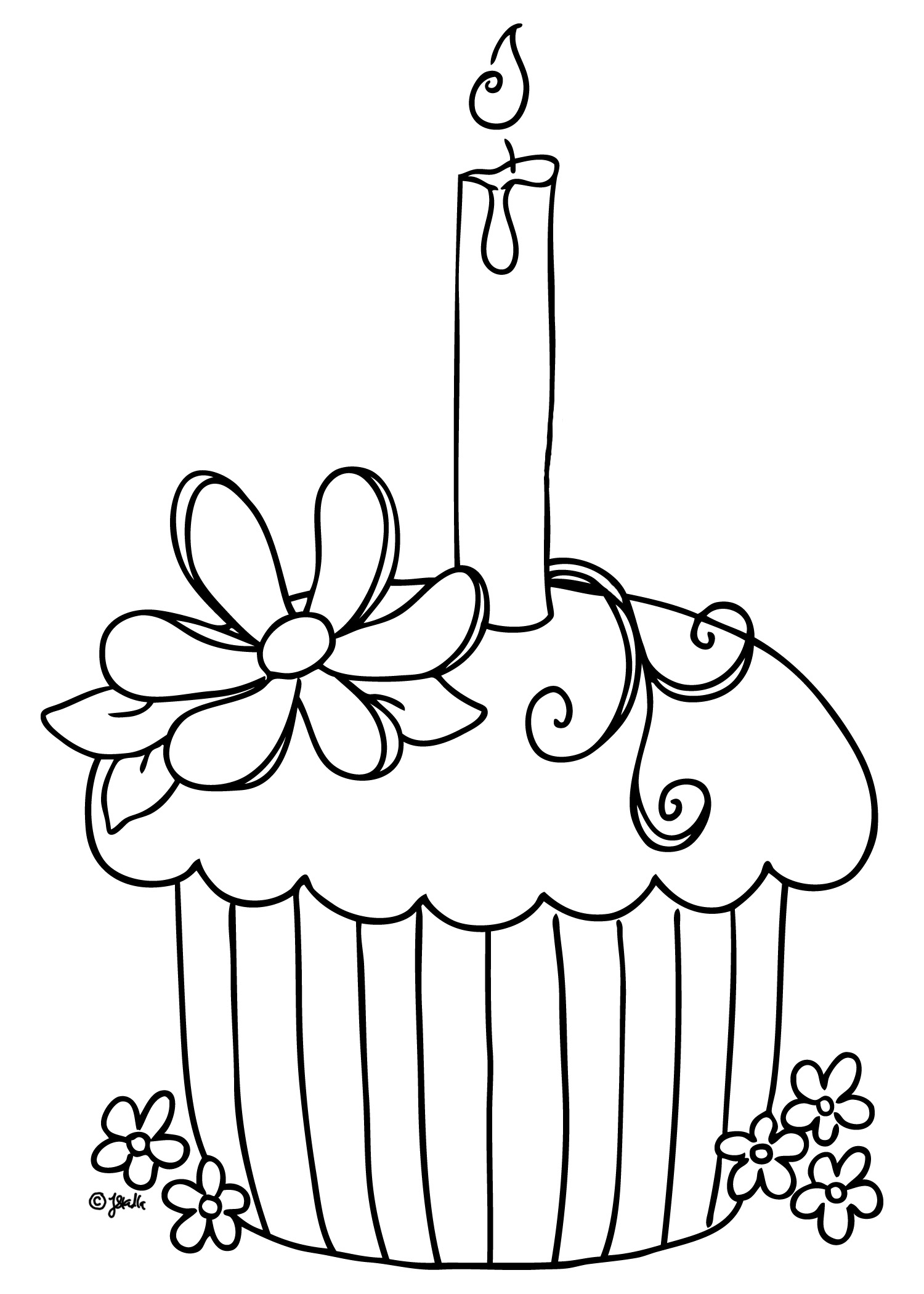 Beautiful Cupcake coloring page