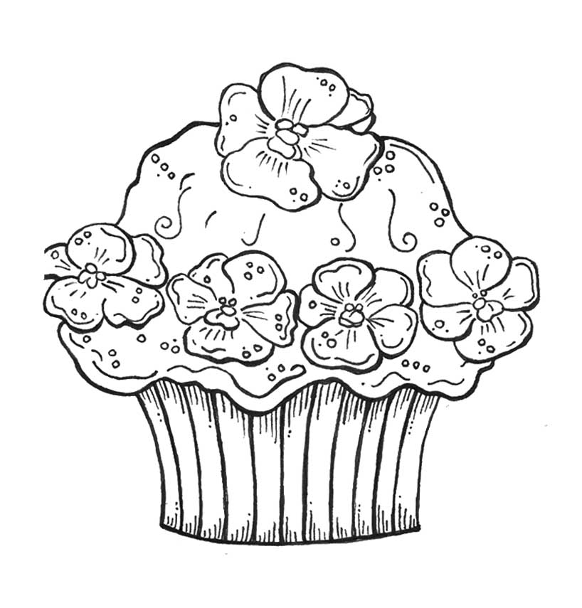 Cupcake with cream flower