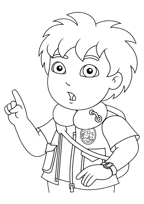 Diego wants to say something coloring page