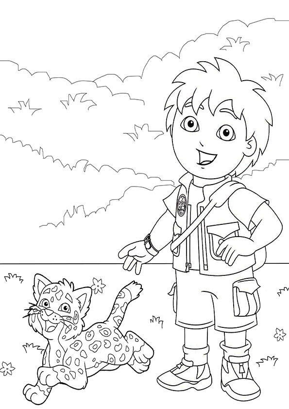 Diego with Baby Jaguar coloring page
