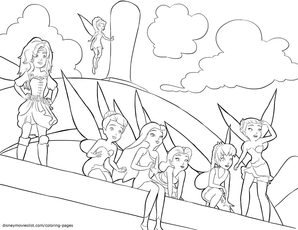 Disney Fairies all are together coloring page