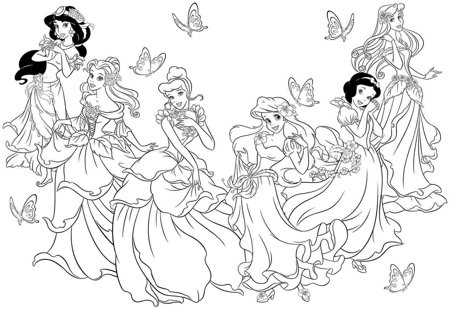 Coloring games online princess disney - Disney Princess Printable Page For Kids