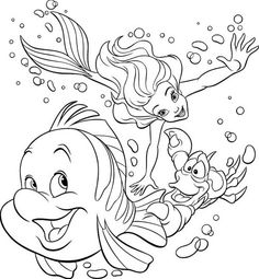 Ariel with Flounder and Sabastian