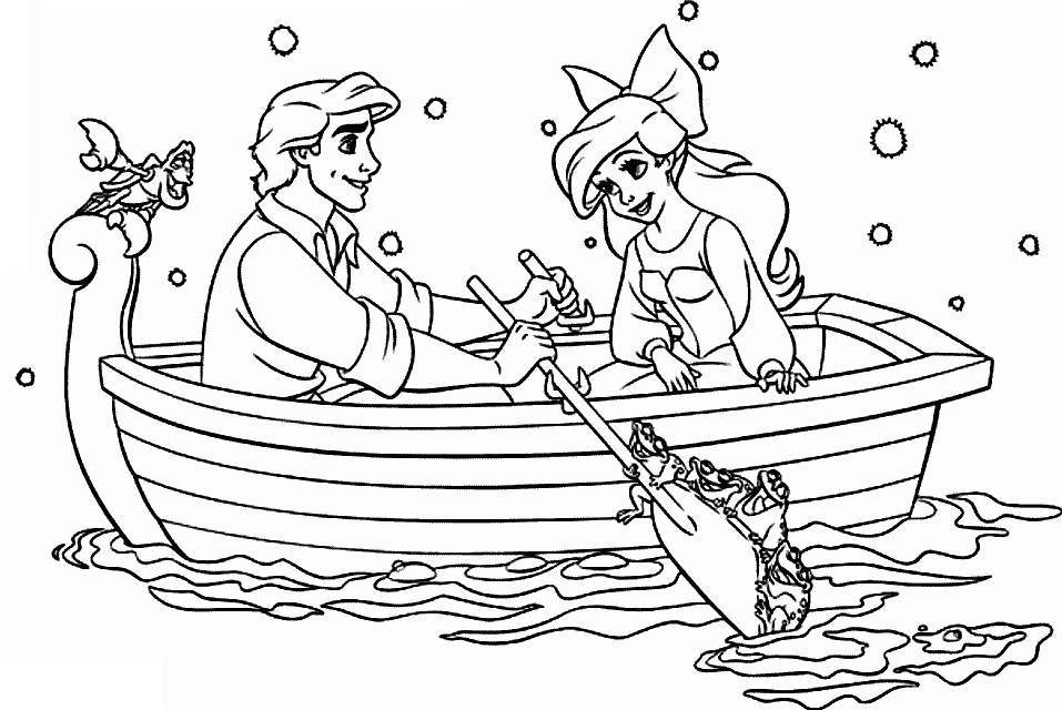 Ariel with Eric coloring page