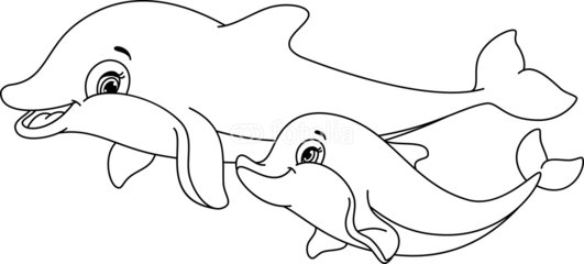 dolphin coloring page dolphin with mermaid dolphin with mermaid cute dolphin with the mother