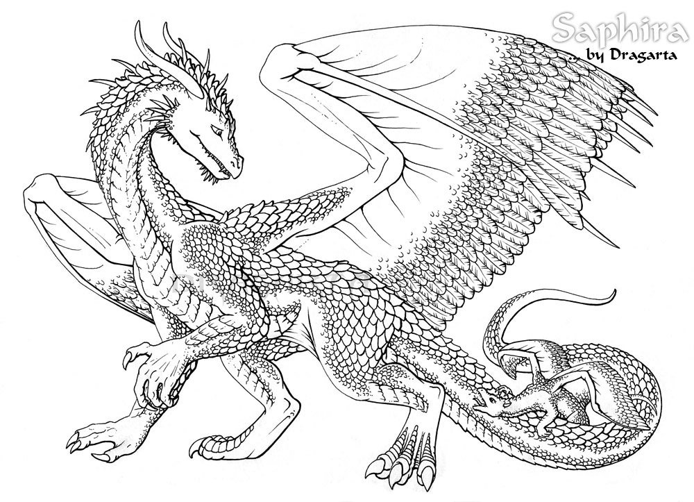 Free Realistic Dragon | Coloring Pages For Adults, Download Free ... | 723x1000