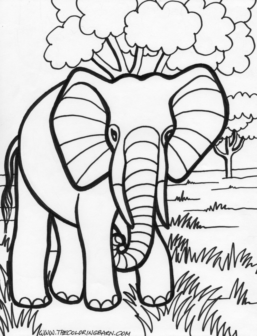 Two Cute Elephants Coloring Page Elephant Into The Jungle