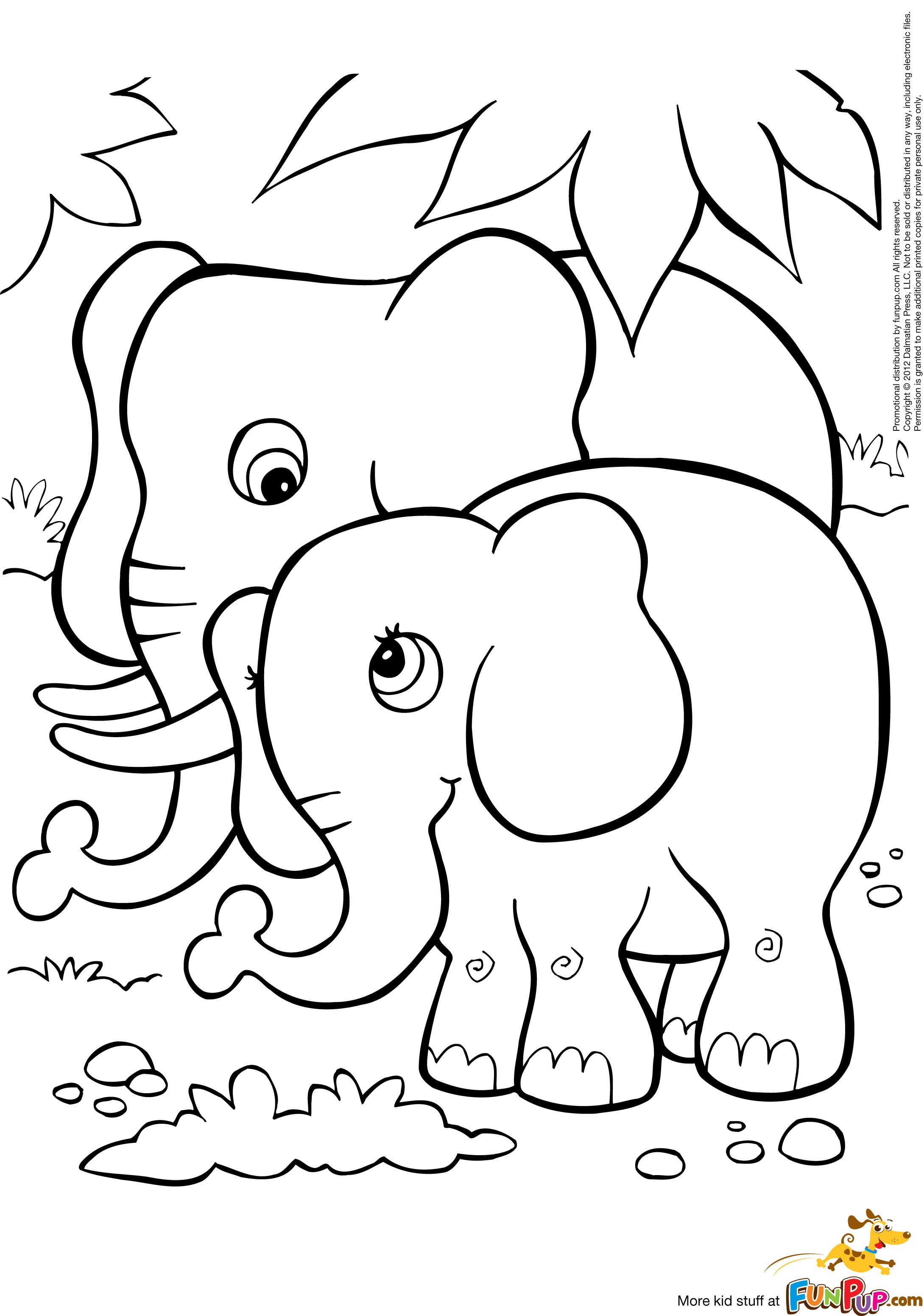 Elephant coloring pages free - Two Cute Elephants Coloring Page