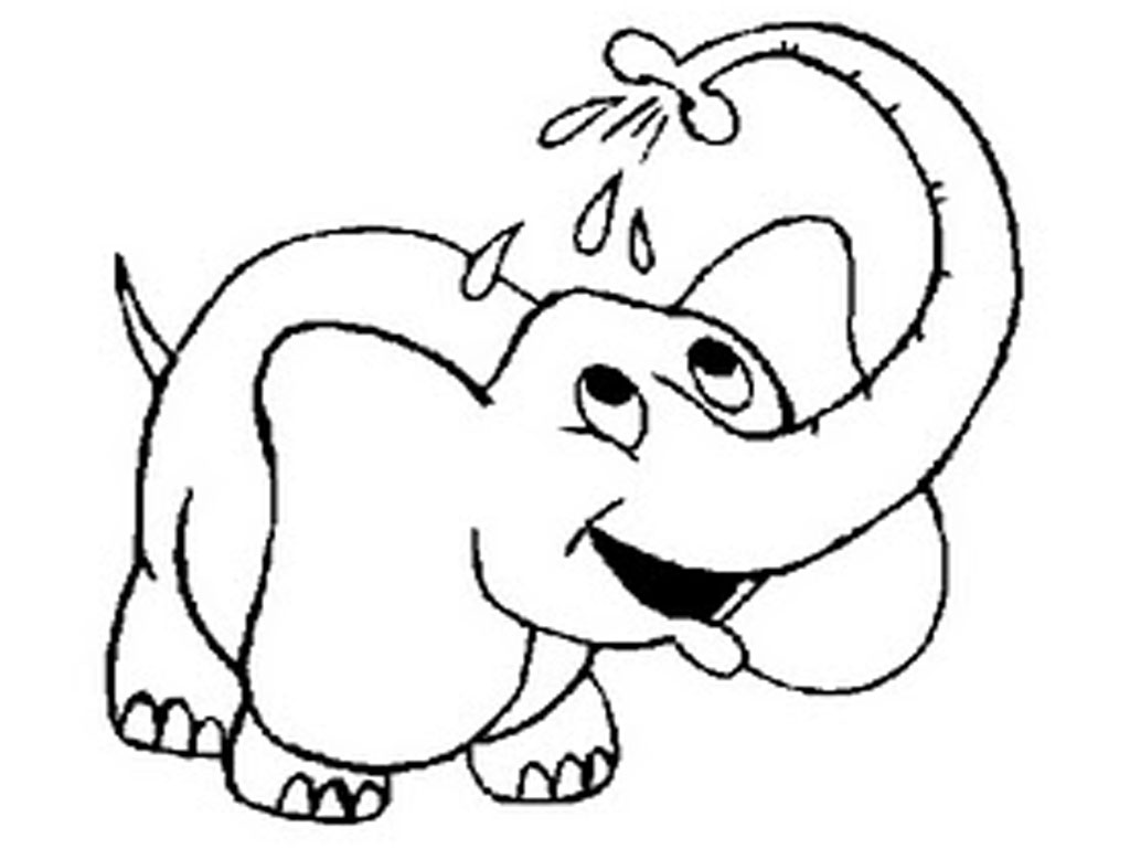 Elephant taking bath coloring page