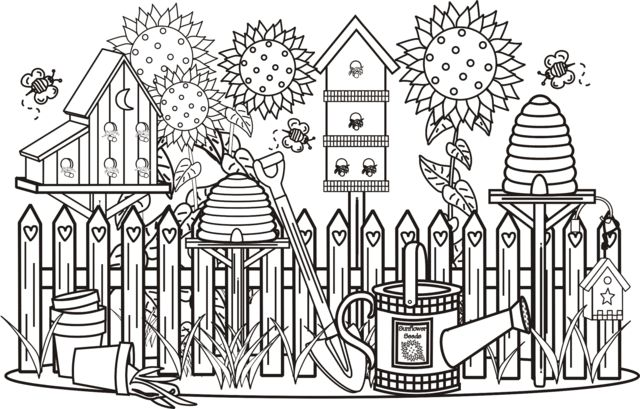 Pleasant view of some attractive gardens 17 gardens for Flower garden coloring pages printable