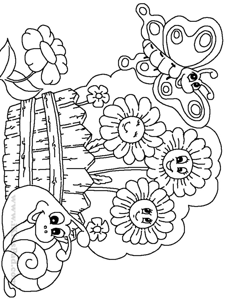 Garden is filled with flowers coloring page