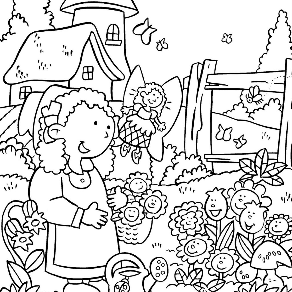 Printable coloring pages garden - Beautiful Garden View