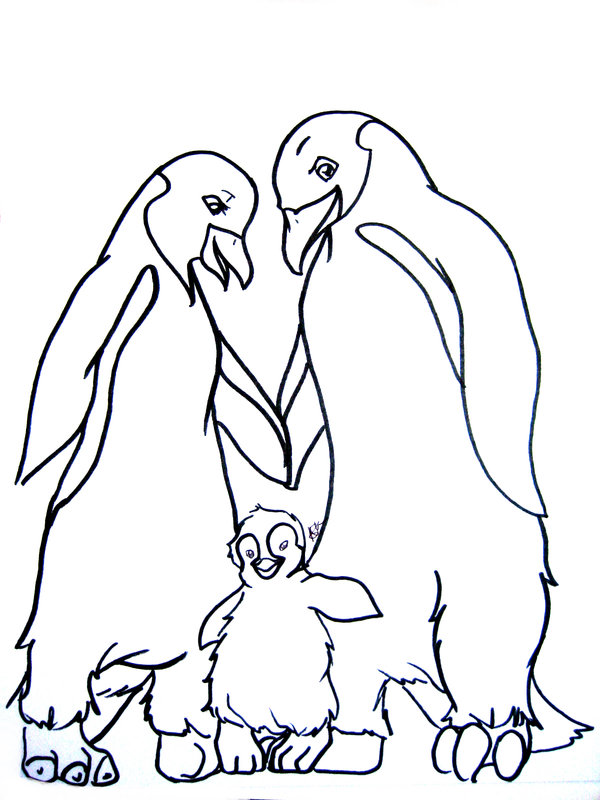 happy penguin family coloring page
