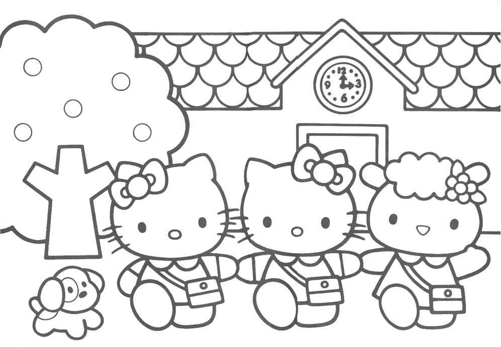 kitty with her best friends coloring page