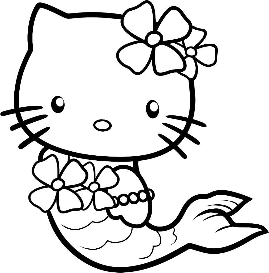 while kitty is mermaid coloring page