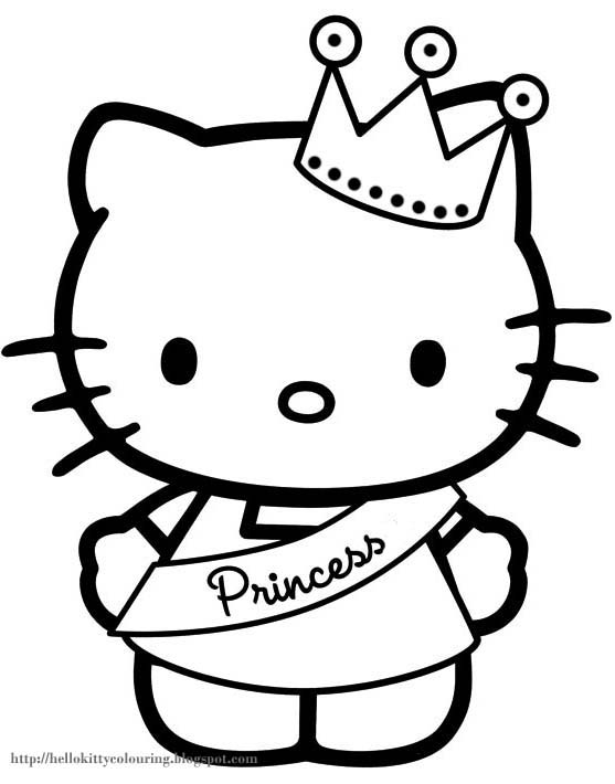 kitty in princess attire coloring page