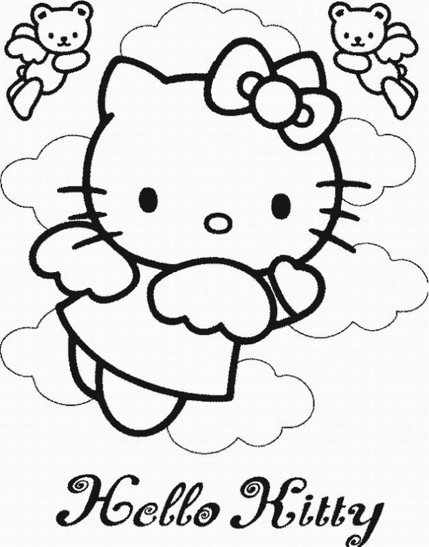 while kitty on the sky coloring page for kids