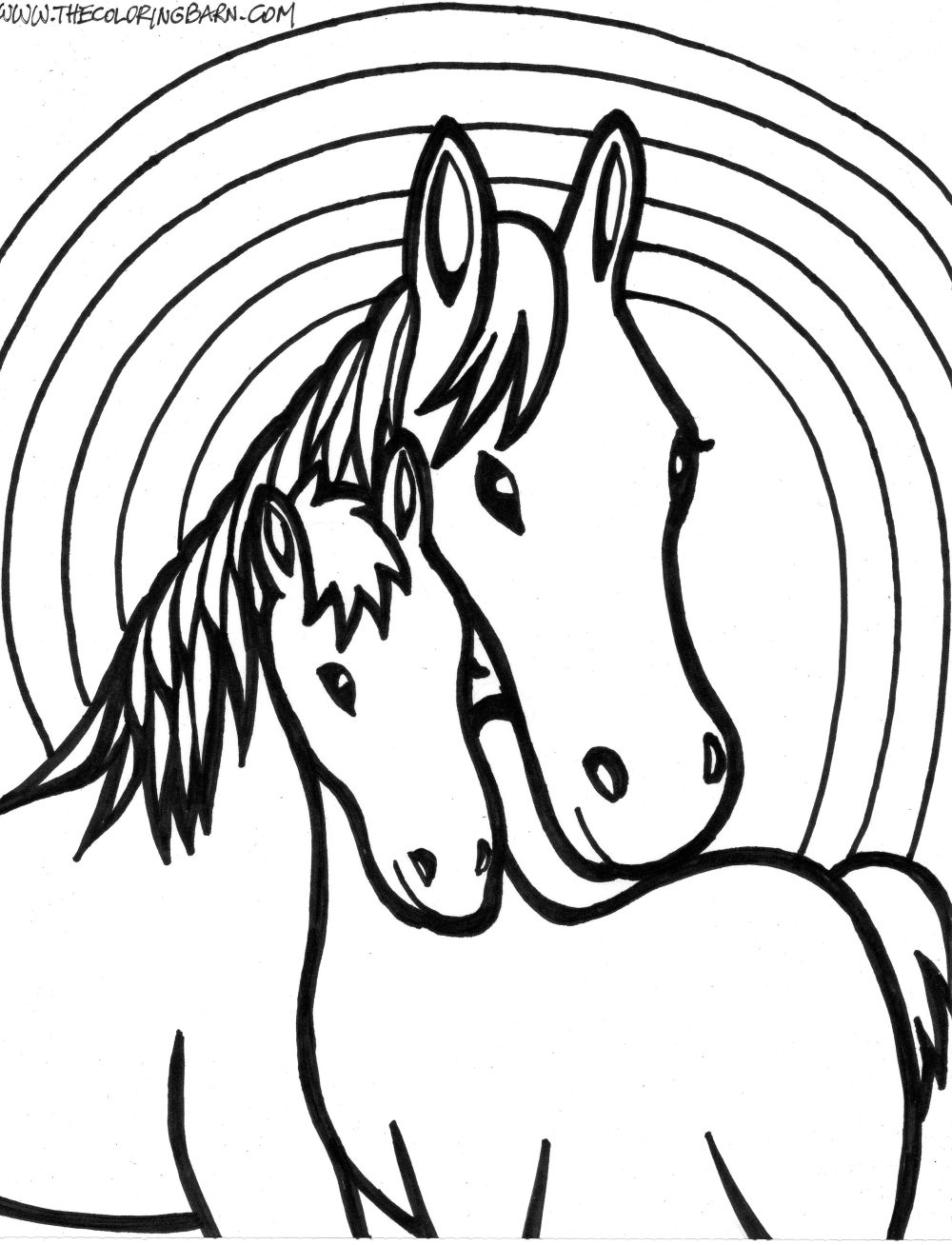 Horses face coloring page