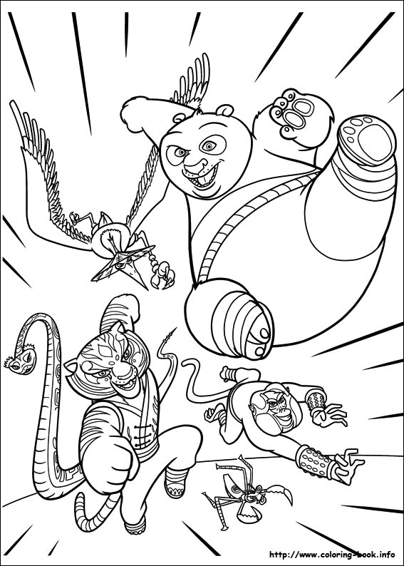 Po With Furious Five Coloring Page Kung Fu Panda