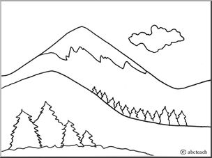beautiful mountains coloring page - Mountain Coloring Pages Printable