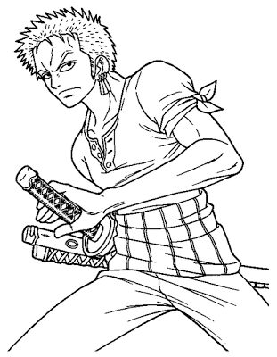Smart Sanji Coloring Page Sharp Zoro With His Sward
