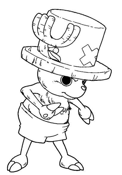 Chopper is thinking deeply coloring page