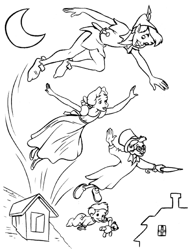 Peter Pan and Wendy flying with fairies