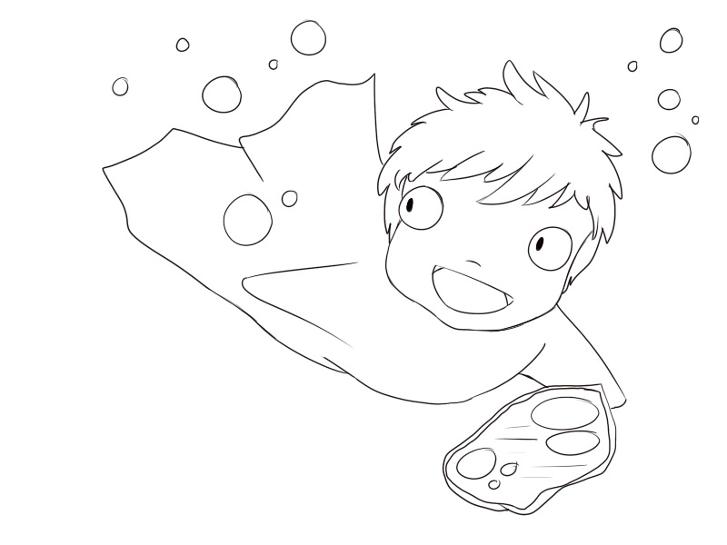 Ponyo coloring pages sketch coloring page for Ponyo coloring pages