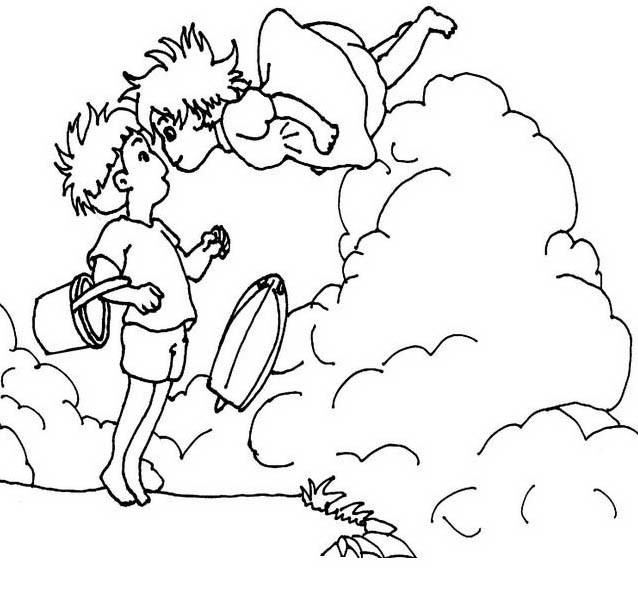 Ponyo beautiful scenery coloring page