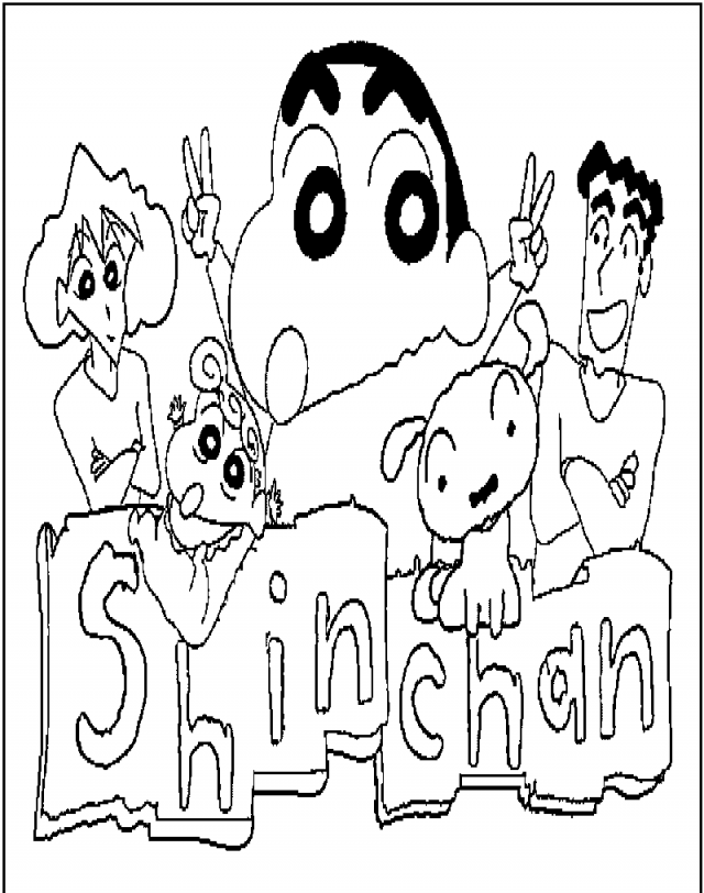 Shinchan the logo coloring page for kids